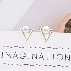 ❤️ New Hot Triangle Earrings with pearl minimalist